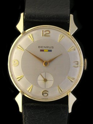 VINTAGE BENRUS SOLID GOLD DRESS WATCH
