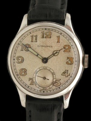 Longines Sterling Silver Officer's Watch
