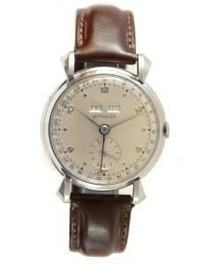 Vintage Wittnauer Triple Date Calendar Watch with Large Stainless Steel Case